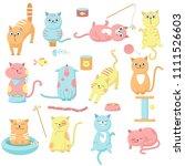 Cute Cat Icon Set  Vector Hand...