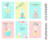 cute alpaca birthday greeting... | Shutterstock .eps vector #1111526609