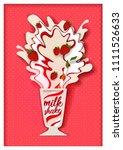 strawberry milkshake. vector... | Shutterstock .eps vector #1111526633