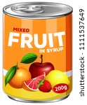 a can of mixed fruit in syrup... | Shutterstock .eps vector #1111537649
