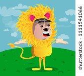 boy dressed as lion shrugs... | Shutterstock .eps vector #1111541066