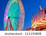 ferris wheel lights and colors... | Shutterstock . vector #111154808