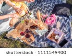 picnic lunch meal outdoors park ... | Shutterstock . vector #1111549400