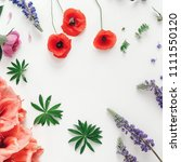 frame made of wildflowers ...   Shutterstock . vector #1111550120