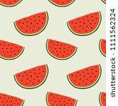 hand drawn seamless watermelon... | Shutterstock .eps vector #1111562324
