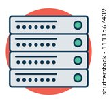 server rack line and fill with ... | Shutterstock .eps vector #1111567439