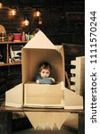 children's dreams of space. kid ... | Shutterstock . vector #1111570244