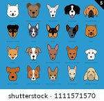 dog faces stroke icon cartoon 5 ... | Shutterstock .eps vector #1111571570