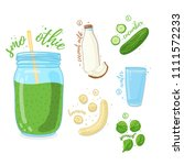 green cocktail for healthy life.... | Shutterstock .eps vector #1111572233