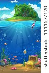 undersea world with island... | Shutterstock .eps vector #1111577120