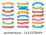 21 colored ribbons on white... | Shutterstock .eps vector #1111578449