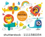 kids transport set with cute... | Shutterstock .eps vector #1111580354