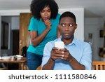jealous african american woman... | Shutterstock . vector #1111580846