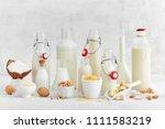 alternative types of milks.... | Shutterstock . vector #1111583219