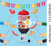 portable round barbecue with...   Shutterstock .eps vector #1111583666