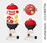 portable round barbecue with...   Shutterstock .eps vector #1111583756