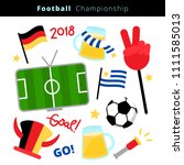 flat icon set of a soccer... | Shutterstock .eps vector #1111585013