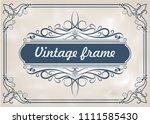 decorative frame in vintage... | Shutterstock .eps vector #1111585430