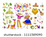 big set of mexico elements ... | Shutterstock . vector #1111589090