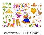 big set of mexico elements ...   Shutterstock . vector #1111589090