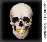 human realistic skull with gold ... | Shutterstock .eps vector #1111589720