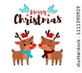 vector christmas card  deer...   Shutterstock .eps vector #1111590929