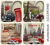 Set Of Vintage Car Travel...