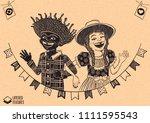 happy multiracial hick couple... | Shutterstock .eps vector #1111595543