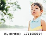 little child roll her eyes with ...   Shutterstock . vector #1111600919