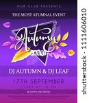 vector autumn party poster with ... | Shutterstock .eps vector #1111606010
