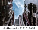 looking up to typical hong kong ...   Shutterstock . vector #1111614608