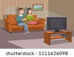 big happy family watching tv on ... | Shutterstock .eps vector #1111626098