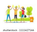 volunteers giving high five... | Shutterstock .eps vector #1111627166