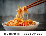 chopsticks take chinese noodles ... | Shutterstock . vector #1111644116
