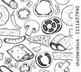 vector hand drawn ingredients... | Shutterstock .eps vector #1111657940