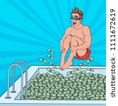 pop art happy man jumping to... | Shutterstock .eps vector #1111672619