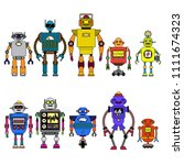 set of different cartoon robots ...   Shutterstock .eps vector #1111674323