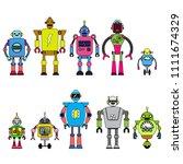 set of different cartoon robots ...   Shutterstock .eps vector #1111674329