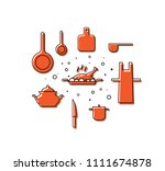 kitchen utensils  dishes.... | Shutterstock .eps vector #1111674878