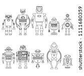 set of different cartoon robots ...   Shutterstock .eps vector #1111680359