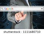 businessman pushing virtual... | Shutterstock . vector #1111680710