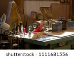 carpenter tools on wooden table ... | Shutterstock . vector #1111681556