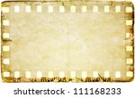 grunge film strip frame on old... | Shutterstock . vector #111168233