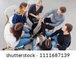 group of people having a... | Shutterstock . vector #1111687139