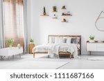wooden shelves with plants... | Shutterstock . vector #1111687166