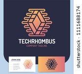 network technology rhombus... | Shutterstock .eps vector #1111688174