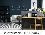 hairpin desk with books  laptop ...   Shutterstock . vector #1111690676