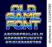 old game alphabet font. pixel... | Shutterstock .eps vector #1111692380