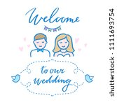 wedding greeting card... | Shutterstock .eps vector #1111693754