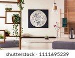 moon painting above tatami mat... | Shutterstock . vector #1111695239
